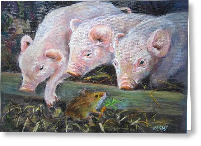 Pigs Pastels Greeting Cards - Pigs VS Mouse Greeting Card by Jieming Wang