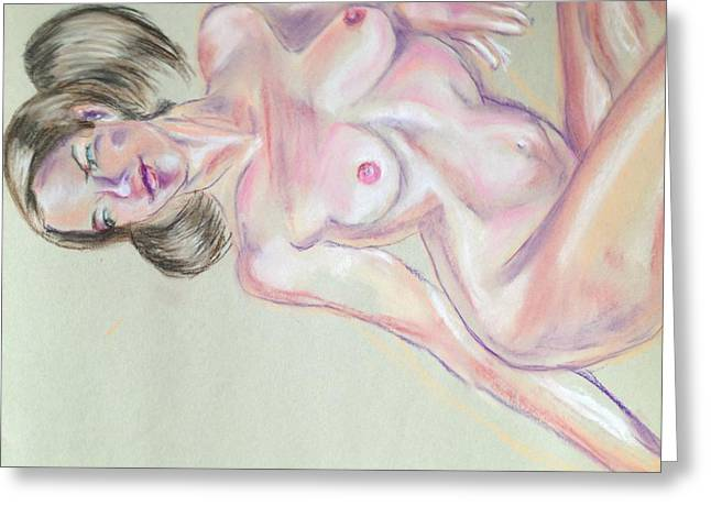 Pinup Pastels Greeting Cards - Pigtails 1 Greeting Card by Grampa Moses