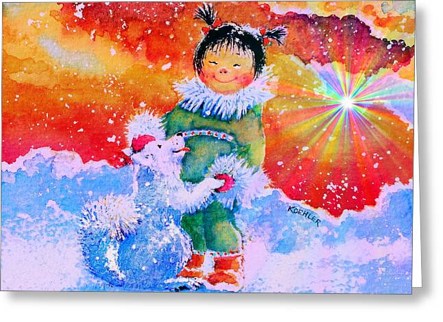 Pigtails And Wagging Tail Greeting Card by Hanne Lore Koehler