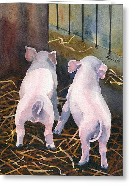 Porcine Animal Greeting Cards - Pigtails Greeting Card by Marsha Elliott