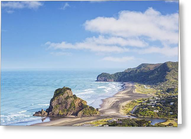 North Island Greeting Cards - Piha and Lion Rock New Zealand Greeting Card by Colin and Linda McKie