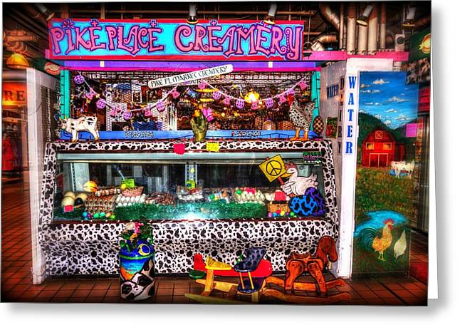 Sanitarium Greeting Cards - Pike Place Creamery Greeting Card by Spencer McDonald