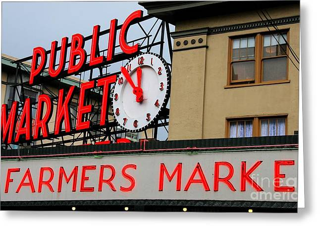 Pike Place Farmers Market Sign Greeting Card by Tap On Photo