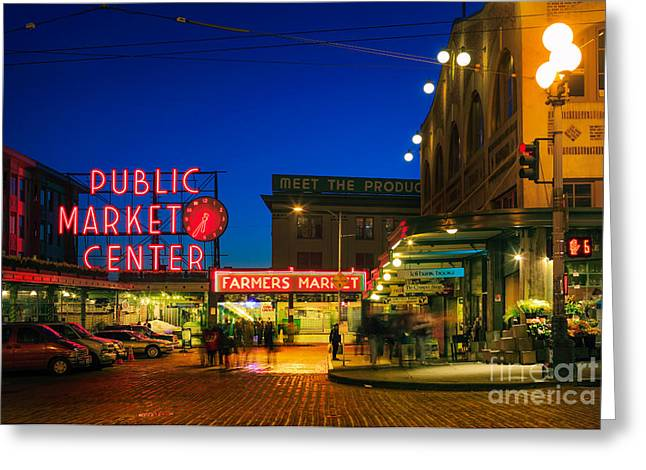 Iconic Places Greeting Cards - Pike Place Market Greeting Card by Inge Johnsson