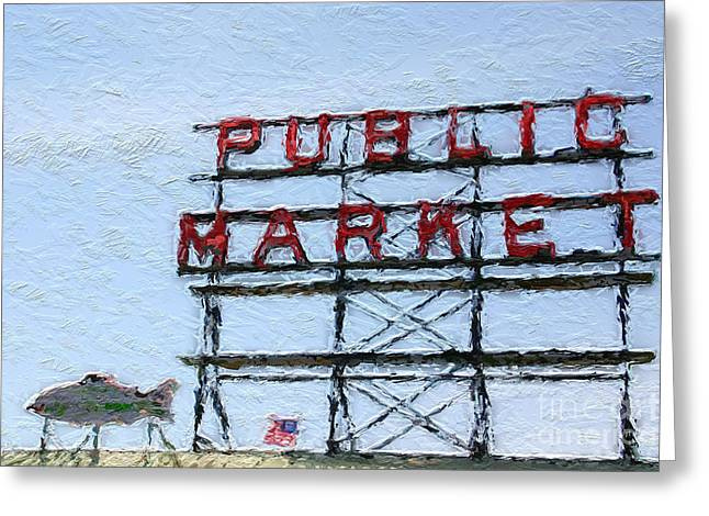 Shopping Greeting Cards - Pike Place Market Greeting Card by Linda Woods