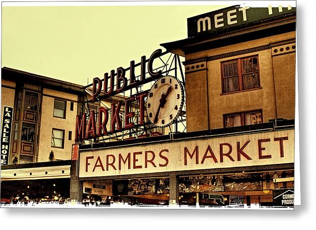 Seattle Landmarks Greeting Cards - Pike Place Market - Seattle Washington Greeting Card by David Patterson