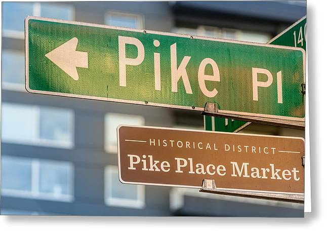 Pike Greeting Cards - Pike Place Market Sign Greeting Card by Steve Gadomski