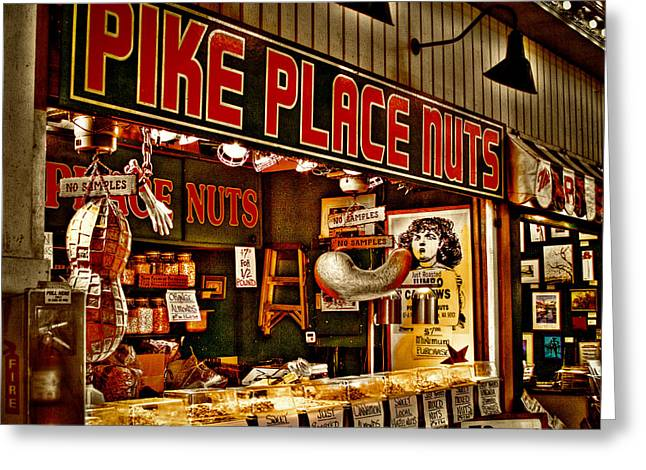 Center City Greeting Cards - Pike Place Nuts - Seattle Washington Greeting Card by David Patterson