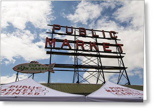 Seattle Greeting Cards - Pike Place Public Market Greeting Card by Michael DeMello