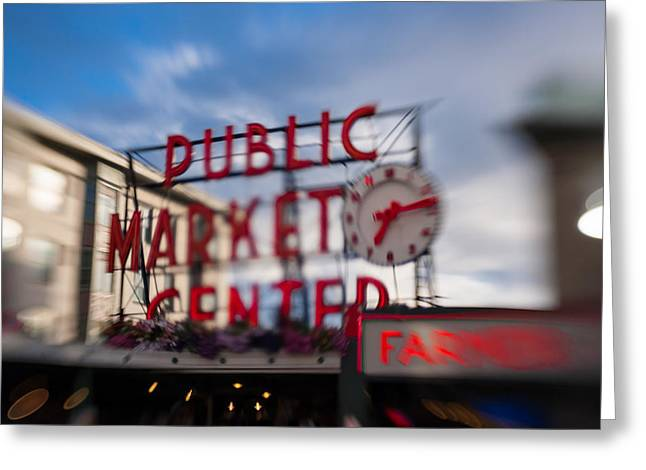 Motion Greeting Cards - Pike Place Public Market Neon Sign Greeting Card by Scott Campbell
