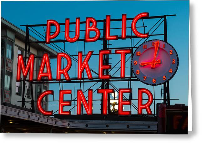Wa Greeting Cards - Pike Place Public Market Seattle Greeting Card by Steve Gadomski