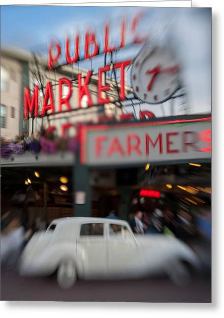 Motion Greeting Cards - Pike Place Publice Market Neon Sign and Limo Greeting Card by Scott Campbell