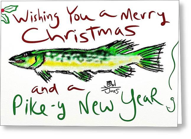 Musky Digital Greeting Cards - Pike-y Christmas Greeting Card by Owl Jones
