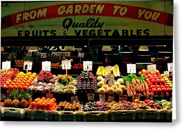 Fruit Stand Greeting Cards - Pikes Market Fruit Stand Greeting Card by Benjamin Yeager