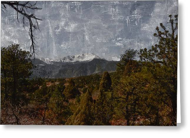 Colorado Artwork Greeting Cards - Pikes Peak 1 Digital painting Greeting Card by Ernie Echols
