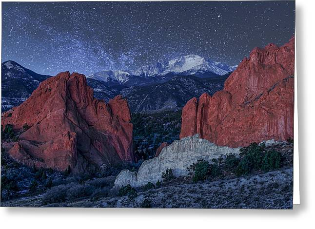 Colorado Greeting Cards - Pikes Peak at Night Greeting Card by Aaron Spong