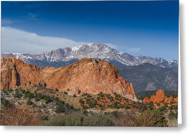 Colorado Artwork Greeting Cards - Pikes Peak Behind Garden of the Gods Greeting Card by Ernie Echols