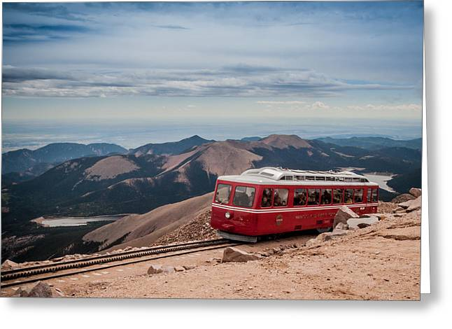 Cog Greeting Cards - Pikes Peak Cog Railway Greeting Card by Jim DeLillo