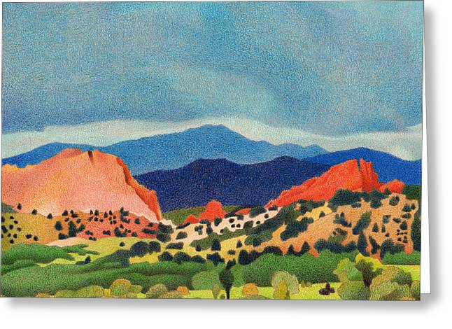 Summer Storm Drawings Greeting Cards - Garden of the Gods Pikes Peak Greeting Card by Dan Miller