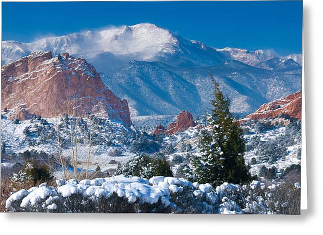 Garden Of The Gods Greeting Cards - Pikes Peak in Winter Greeting Card by John Hoffman