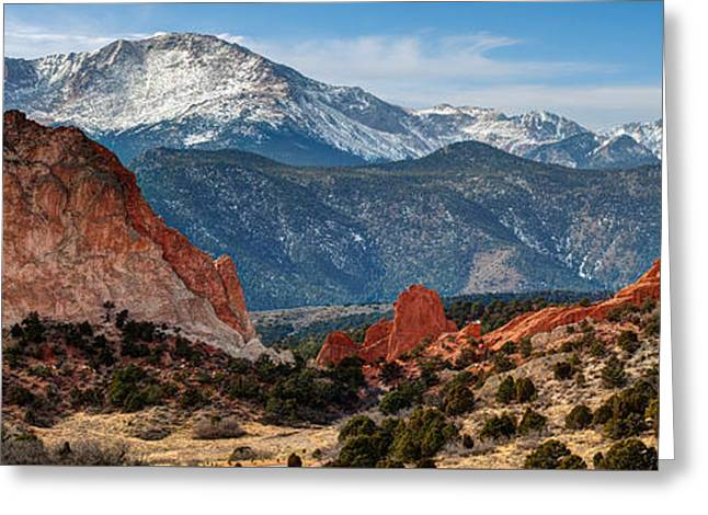 Snow Capped Greeting Cards - Pikes Peak Panorama Greeting Card by Gregory Ballos