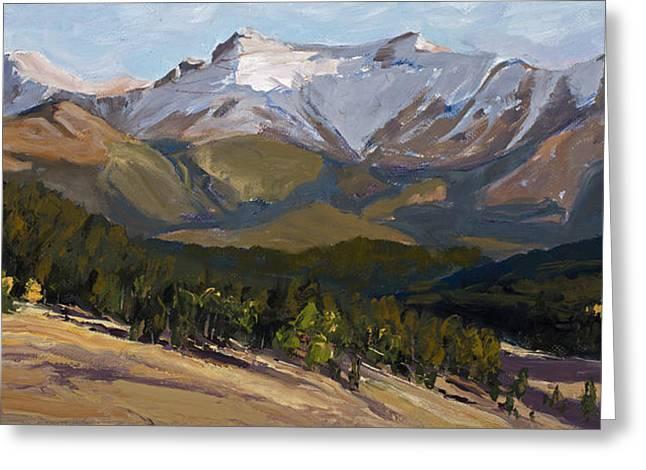 Pikes Peak Panoramic Greeting Card by Mary Giacomini