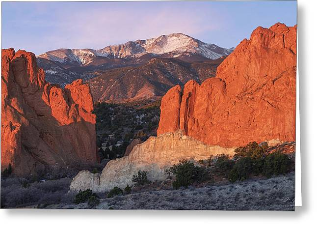 Garden Of The Gods Greeting Cards - Pikes Peak Sunrise Greeting Card by Aaron Spong