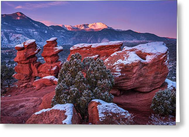 Colorado Mountain Greeting Cards Greeting Cards - Pikes Peak Sunrise Greeting Card by Darren  White