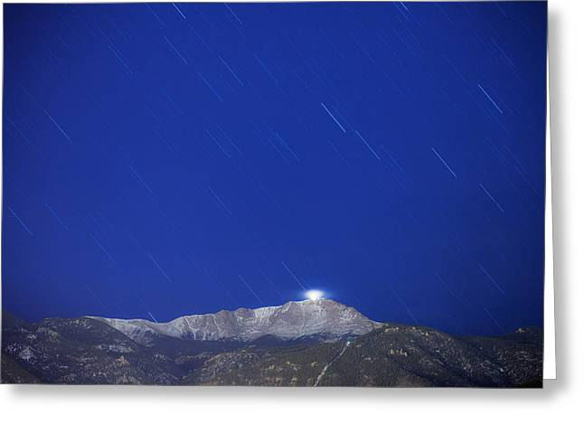 New Year Greeting Cards - Pikes Peak Under The Stars Greeting Card by Darren  White
