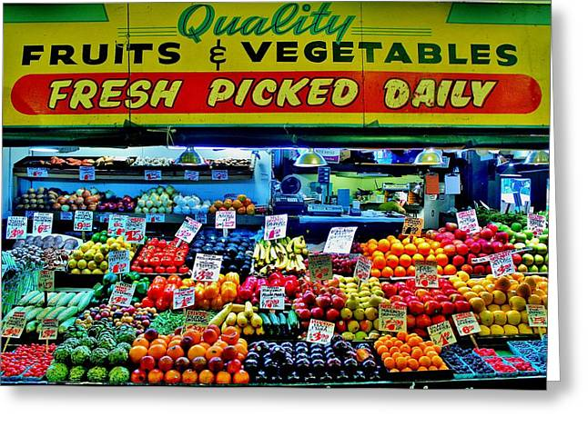 Fruit Stand Greeting Cards - Pikes Place Fruit Stand Greeting Card by Benjamin Yeager