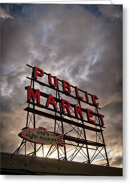 Amazing Sunset Greeting Cards - Pikes Place in Seattle Washington Greeting Card by James Unkov