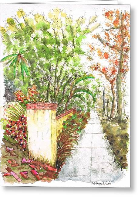Architecrure Greeting Cards - Pilar and trees in West Hollywood - California Greeting Card by Carlos G Groppa
