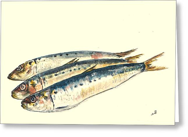 Wildlife Watercolor Greeting Cards - Pilchards Greeting Card by Juan  Bosco