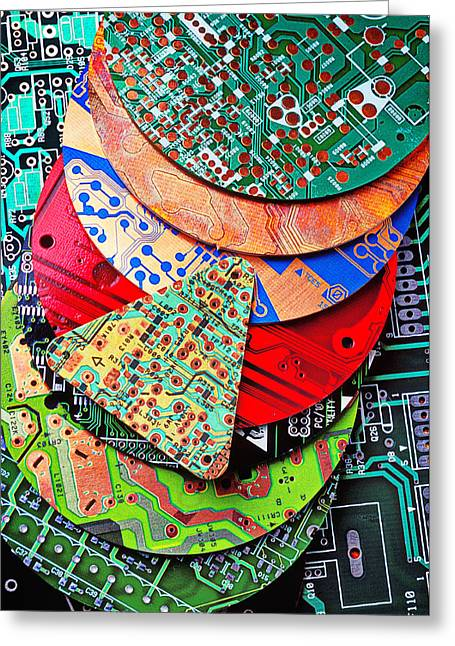 Conductor Greeting Cards - Pile of circuit boards Greeting Card by Garry Gay