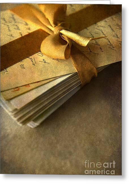 Information Age Photographs Greeting Cards - Pile of letters with golden ribbon Greeting Card by Jaroslaw Blaminsky