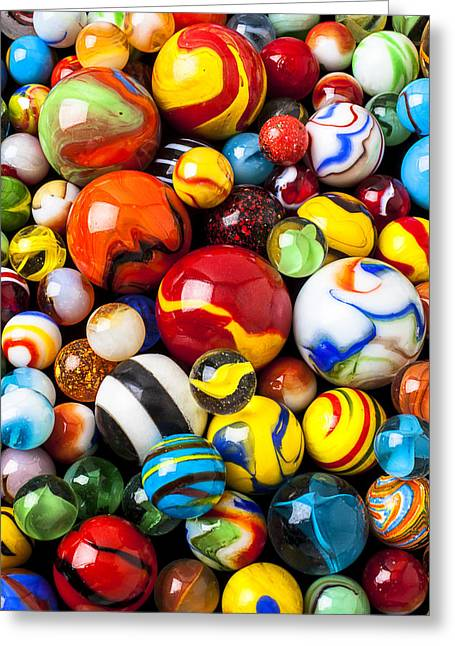 Spheres Greeting Cards - Pile of marbles Greeting Card by Garry Gay