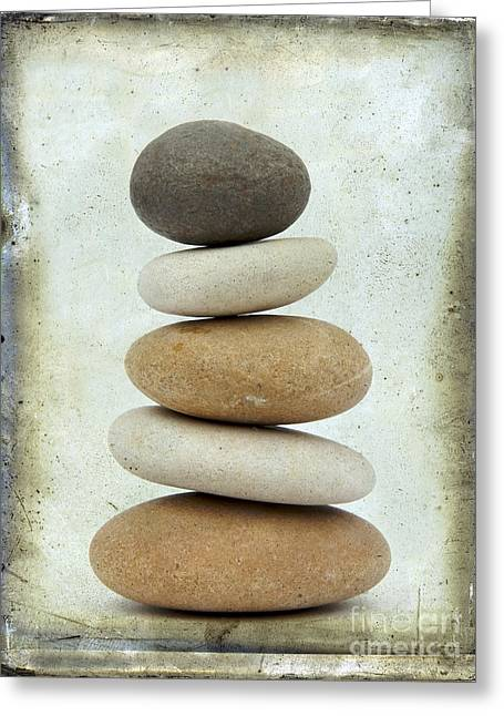 Stacks Greeting Cards - Pile of pebbles Greeting Card by Bernard Jaubert
