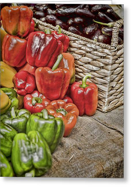 Borough Market Greeting Cards - Pile of Peppers Greeting Card by Heather Applegate