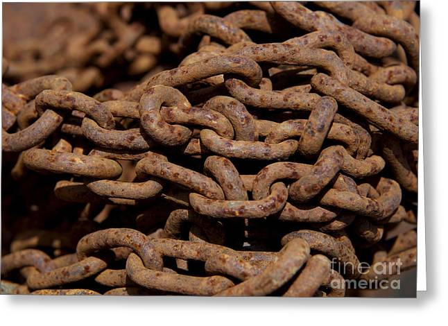 Chains Greeting Cards - Pile of rusty chains Greeting Card by Bernard Jaubert