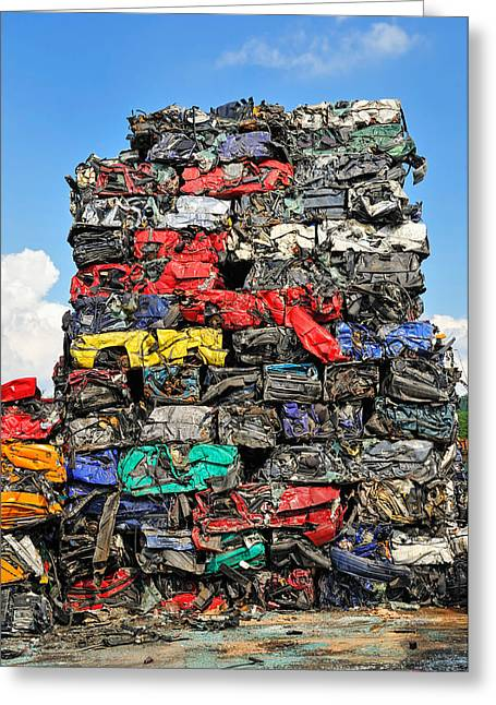 Wrecked Cars Greeting Cards - Pile of scrap cars on a wrecking yard Greeting Card by Matthias Hauser