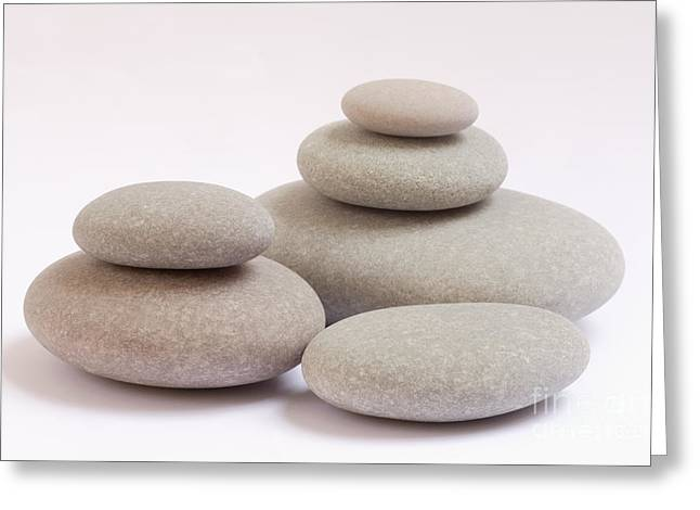 Smoothness Greeting Cards - Pile of smooth pebbles Greeting Card by Rosemary Calvert