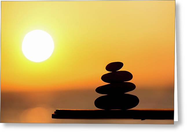 Pile Of Stone At Sunset Greeting Card by Wladimir Bulgar