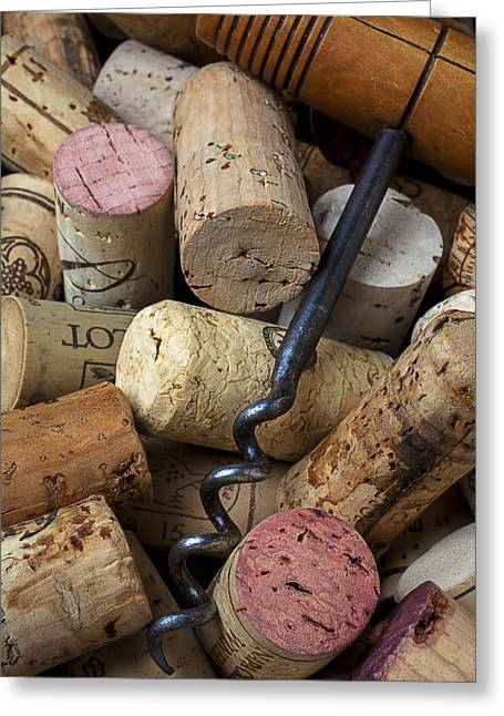 Vintner Greeting Cards - Pile of wine corks with corkscrew Greeting Card by Garry Gay