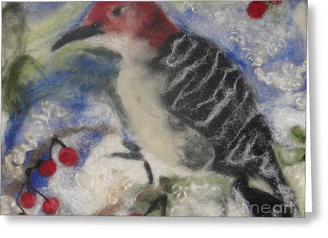 Red Photographs Tapestries - Textiles Greeting Cards - Pileated Wood Pecker Greeting Card by Shakti Chionis