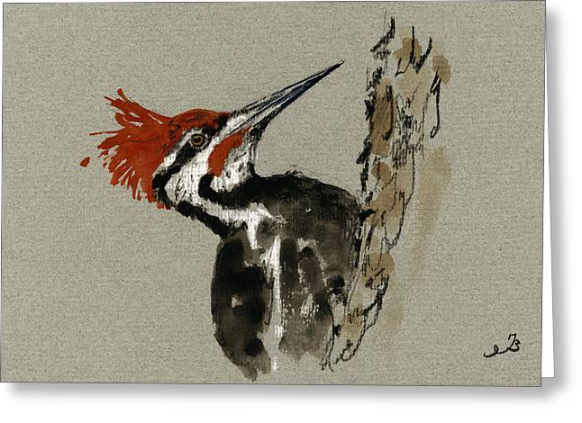 Pileated Woodpeckers Greeting Cards - Pileated Woodpecker Greeting Card by Juan  Bosco