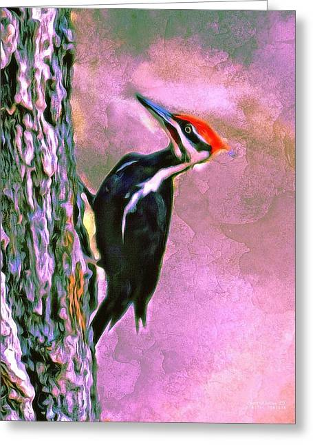 Except Greeting Cards - PILEATED WOODPECKER Portrait Greeting Card by Scott Wallace