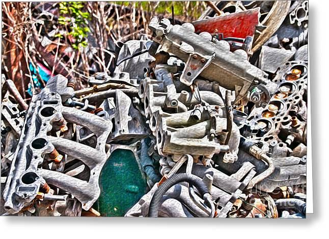 Camshaft Greeting Cards - Piles of Engines - Automotive Recycling Greeting Card by Crystal Harman