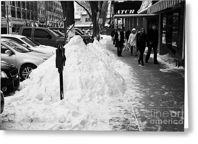 Kerb Greeting Cards - piles of snow cleared from downtown city street sidewalks Saskatoon Saskatchewan Canada Greeting Card by Joe Fox
