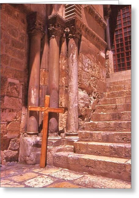 True Cross Greeting Cards - Pilgrim Cross Jerusalem Greeting Card by Nigel Radcliffe