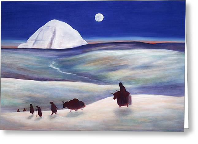 Recently Sold -  - Liberation Greeting Cards - Pilgrimage to Mount Kailash Tibet Greeting Card by Wicki Van De Veer